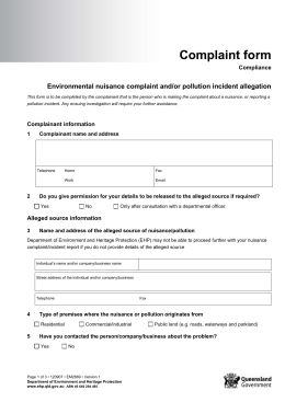 Environmental nuisance complaint and/or pollution incident allegation