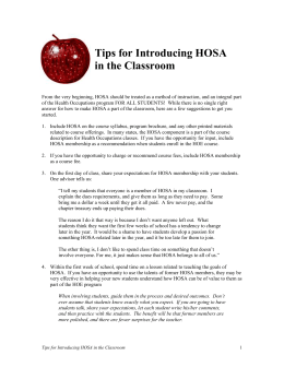 Tips for Introducing HOSA in the Classroom