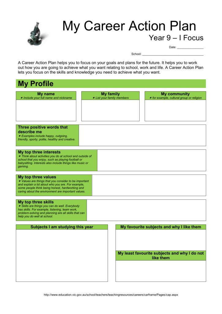 Year 9 Career Action Plan Department Of Education And Early