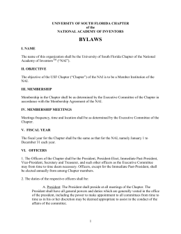 USF Chapter Bylaws - National Academy of Inventors
