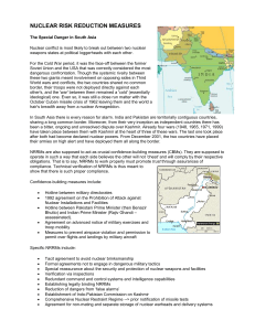 India and Pakistan Nuclear Risk Reduction Measures