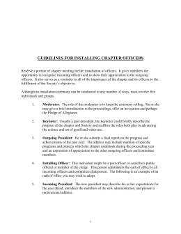 guidelines for installing chapter officers