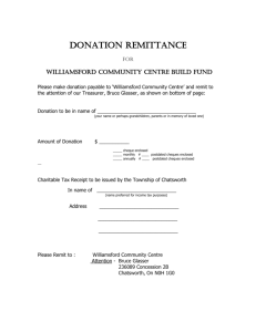 Please make donation payable to `Williamsford Community Centre
