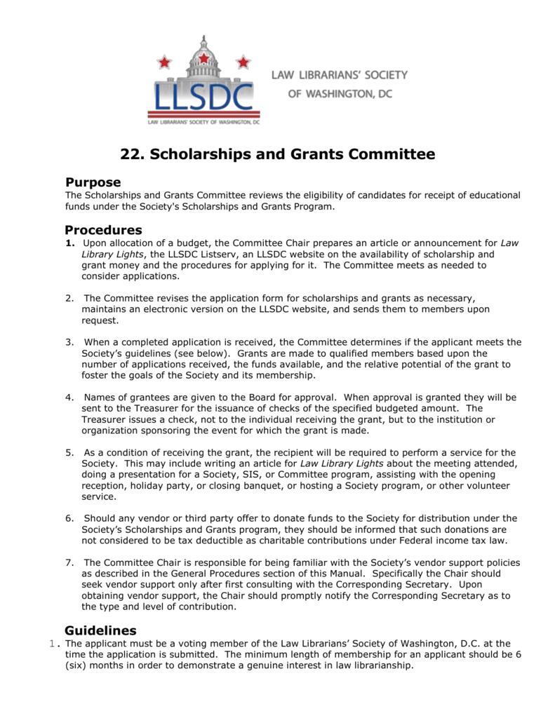 Llsdc Scholarship Grants Procedures And Guidelines