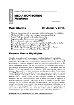 Headlines – 28.01.2016 - UNMIK Media Monitoring