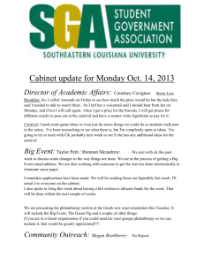Cabinet update for Monday Oct. 14, 2013 Director of Academic