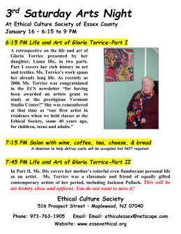 3rd Saturday Arts Night: Gloria Torrice