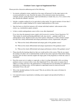Graduate Course Approval Supplemental Sheet