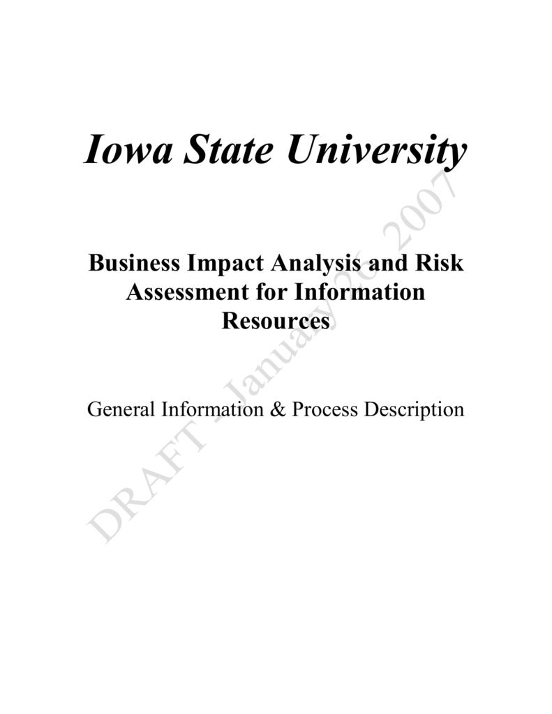 assessment analysis vs risk Business impact