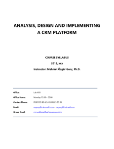 ANALYSIS, DESIGN AND IMPLEMENTING A CRM PLATFORM