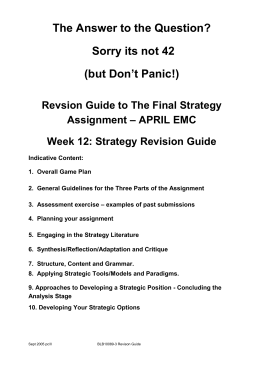 Strategy: analysis & implementation