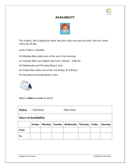 Mary`s availability worksheet