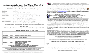 Immaculate Heart of Mary Church - Immaculate Heart of Mary Parish