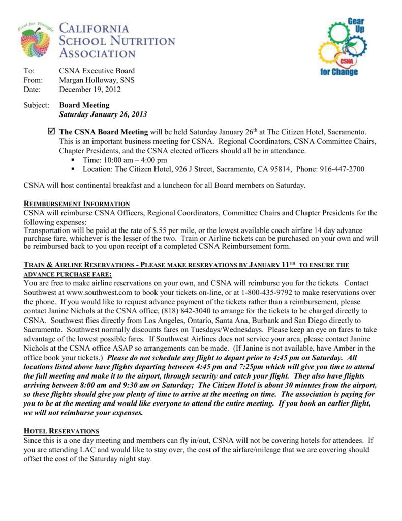 CSNA Board Meeting - California School Nutrition Association