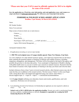 fisheries & wildlife scholarship application
