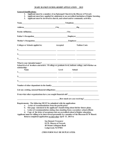 Mary Rankin Scholarship Application 2015