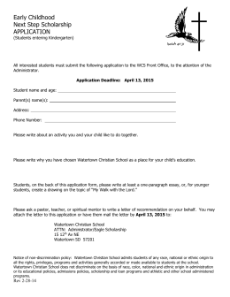The Next Step Scholarship for Kindergarten
