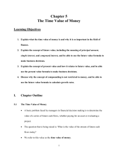 5.1 The Time Value of Money