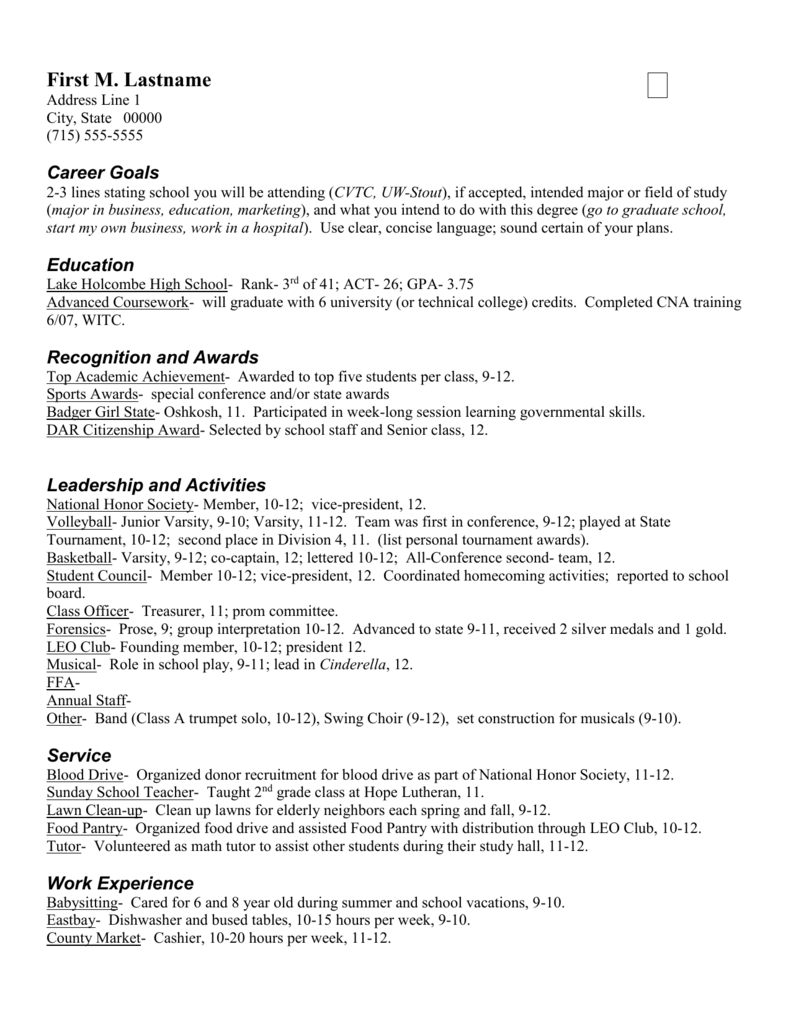 Scholarship Resume Sample 1