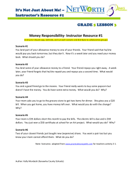 Money Responsibility- Instructor Resource #1