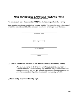 J04 Saturday Evening Release Form