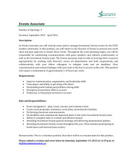 Events Associate - Investment Society
