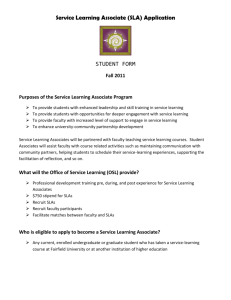 Service Learning Associate (SLA) Application