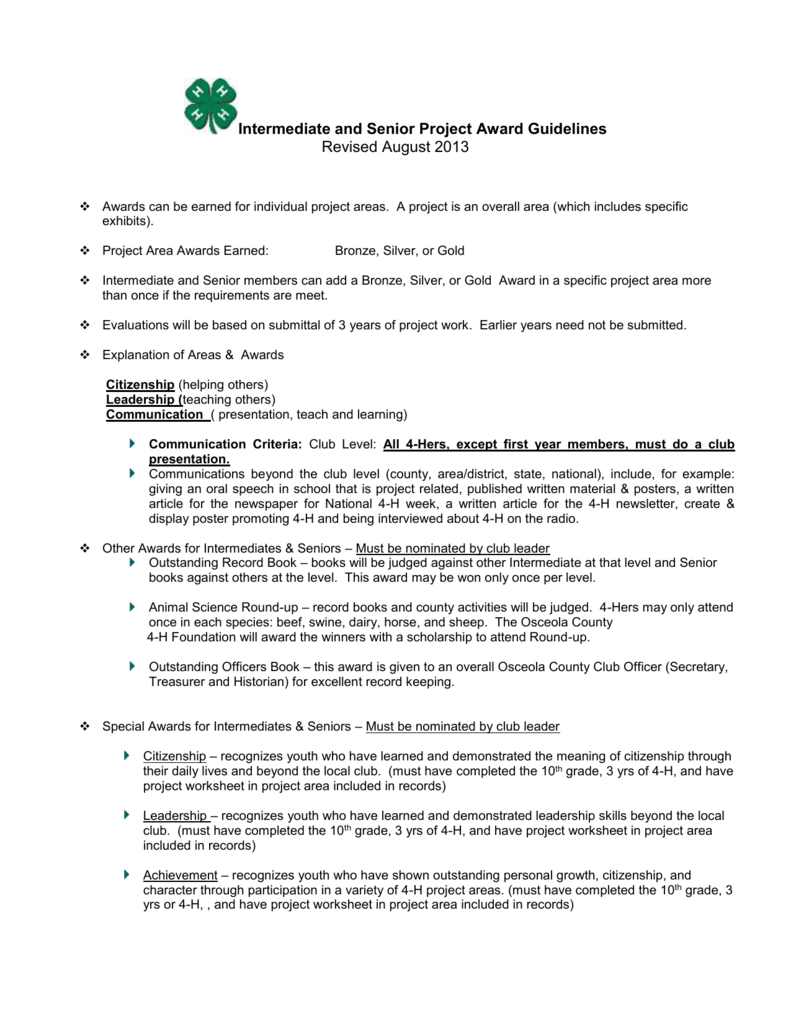 Intermediate and Senior Project Award Guidelines Checklist