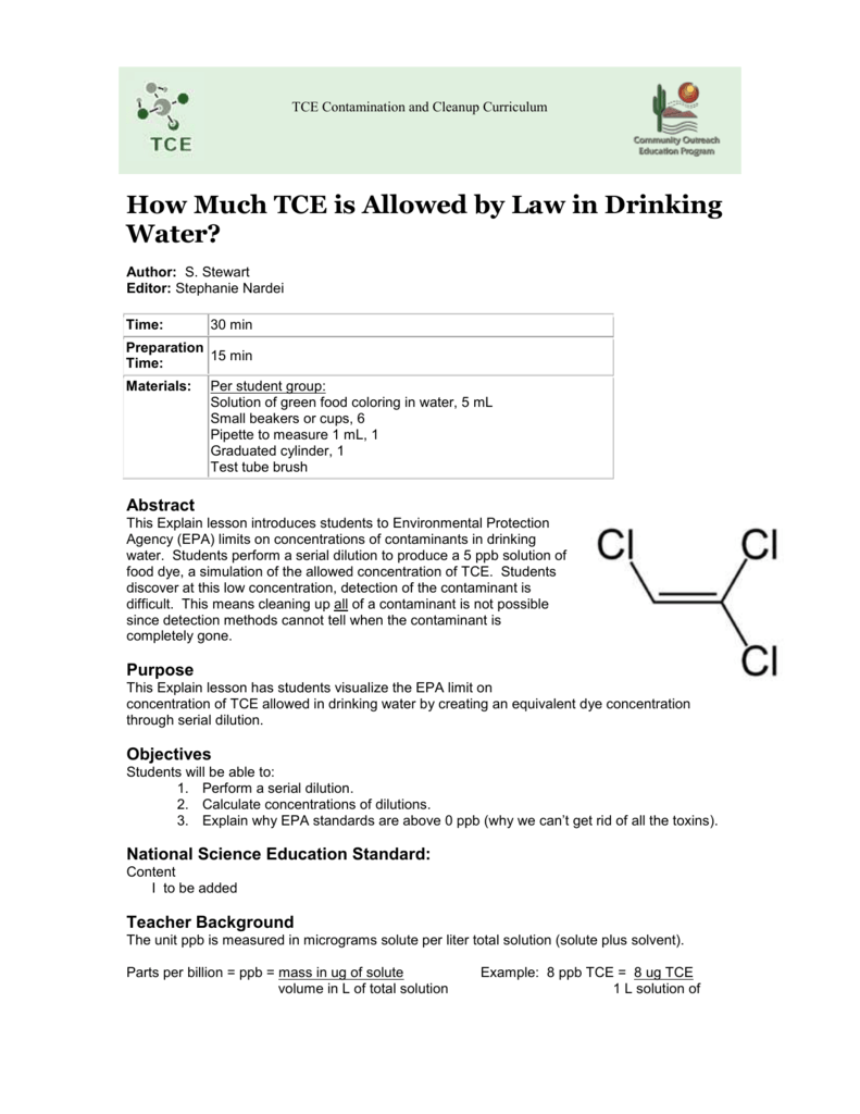 How much TCE is allowed by law in drinking water