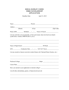 cheek scholarship form