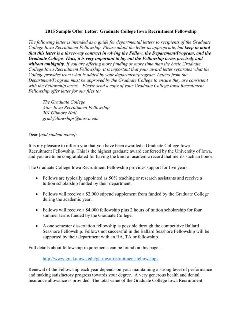 2008 Sample Offer Letter Presidential Graduate Fellowship – Scholarship Acceptance Letter