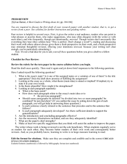 Peer Review checklist for research papers