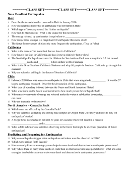 Deadliest Earthquake Worksheet