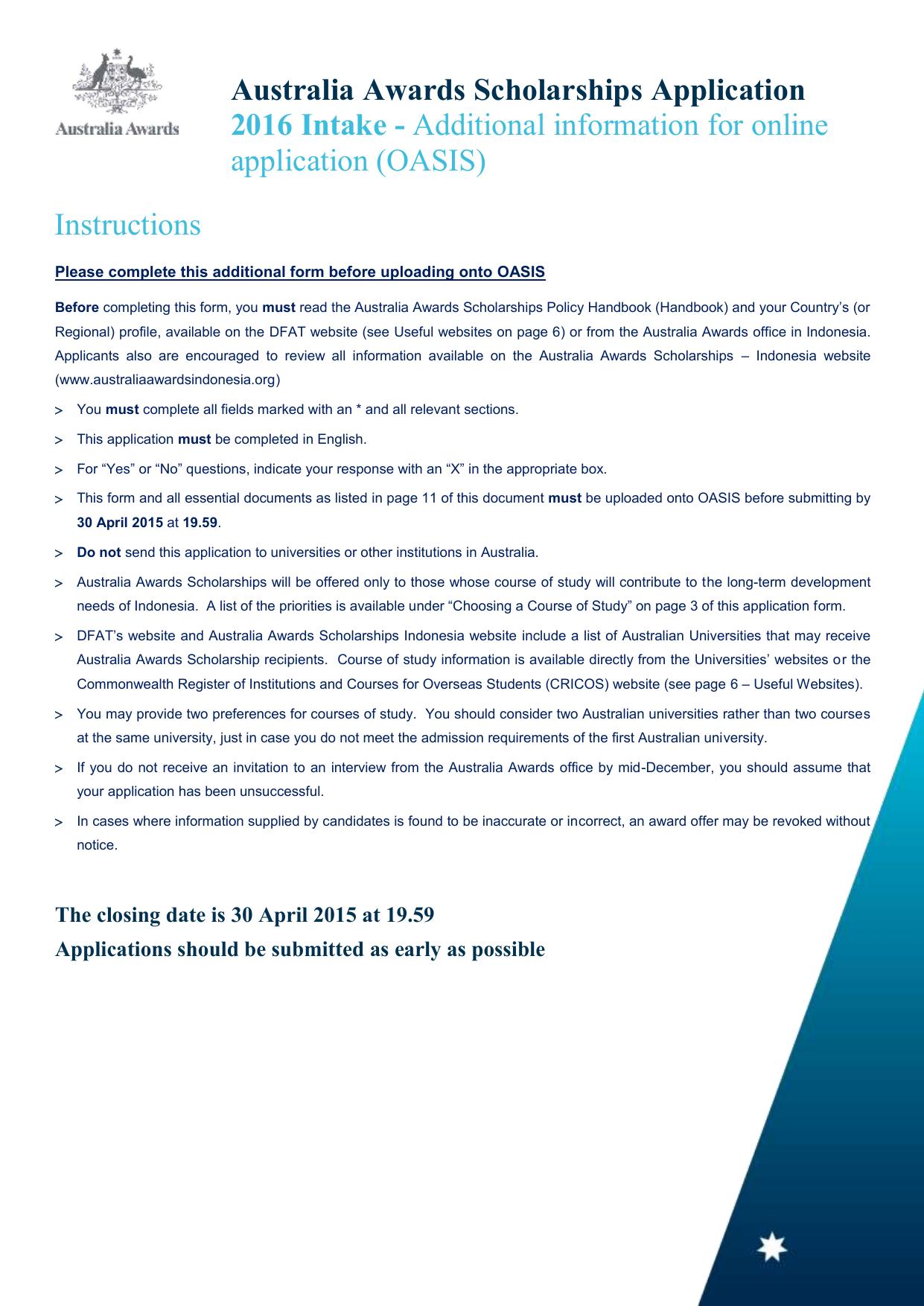 Australia Awards Scholarships 2016 Additional Form