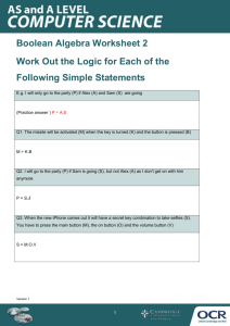 Boolean algebra - Topic exploration pack - Learner activity 2