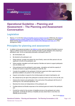 Conducting the planning and assessment conversation