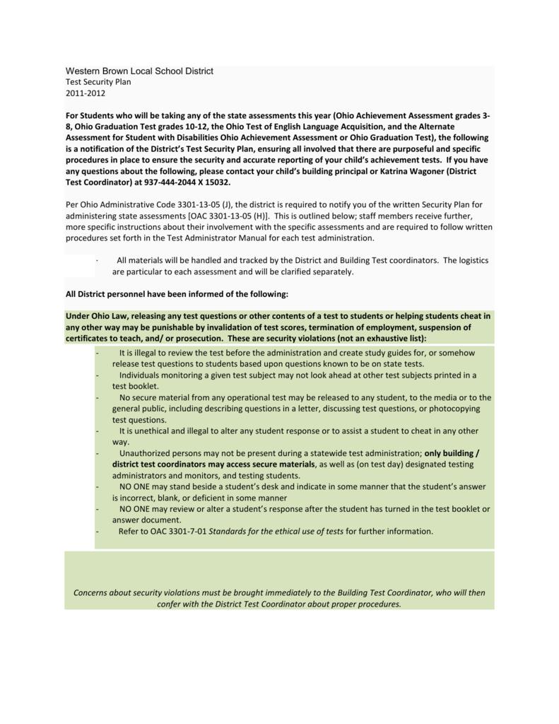 WBLSD Test Security Plan - Western Brown Local Schools