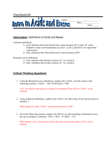 Information: Definitions of Acids and Bases