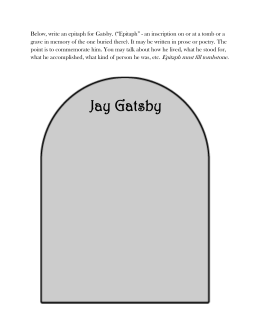 Below, write an epitaph for Gatsby