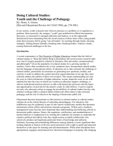 Doing Cultural Studies: Youth and the Challenge of Pedagogy