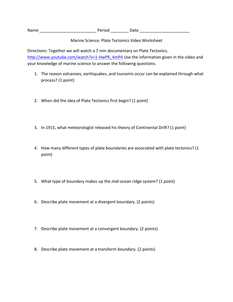 04 plate tectonics video worksheet – Plate Boundaries Worksheet Answers