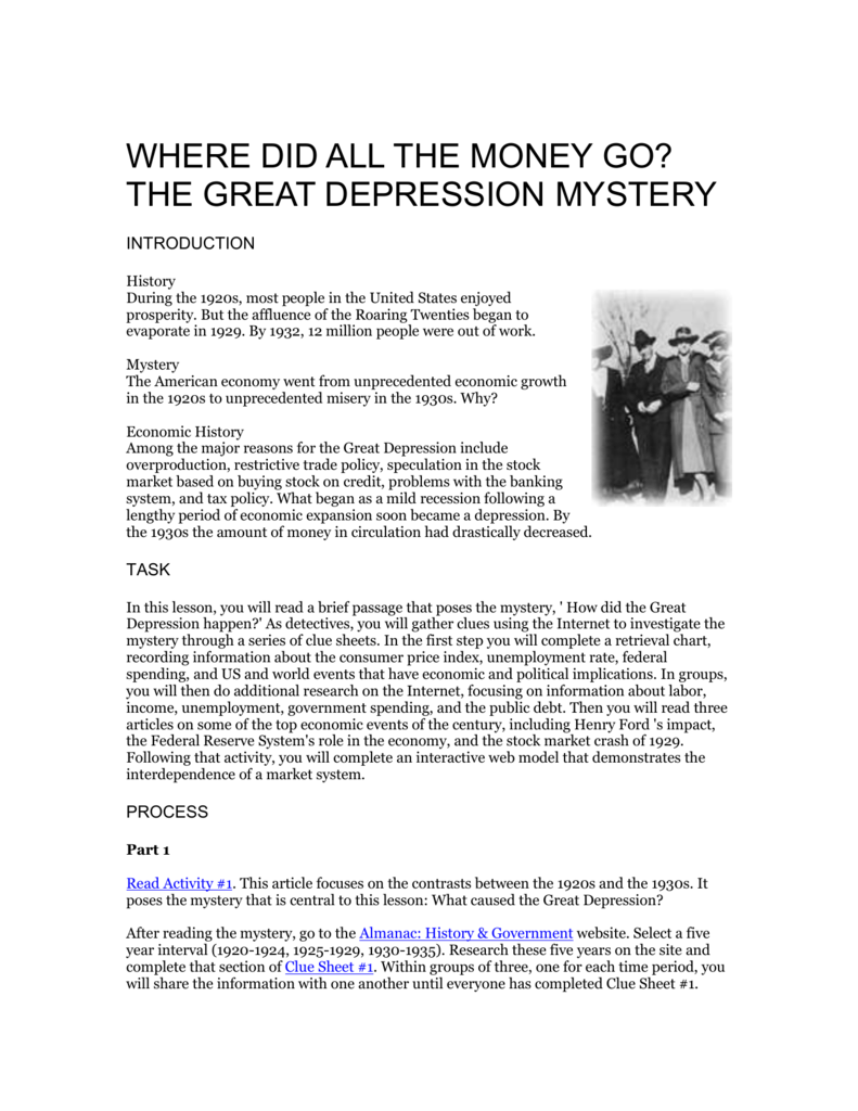 historical investigation the great depression