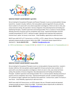 WEEEFUN THERAPY ADVERTISEMENT: April 2013: We are