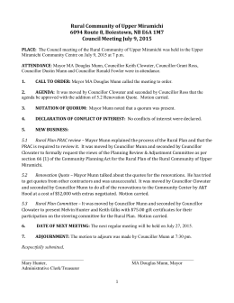 July 9, 2015 - Special Meeting - Rural Community of Upper Miramichi