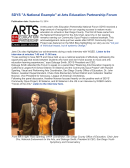 "SDYS ""A National Example"" at Arts Education Partnership Forum"