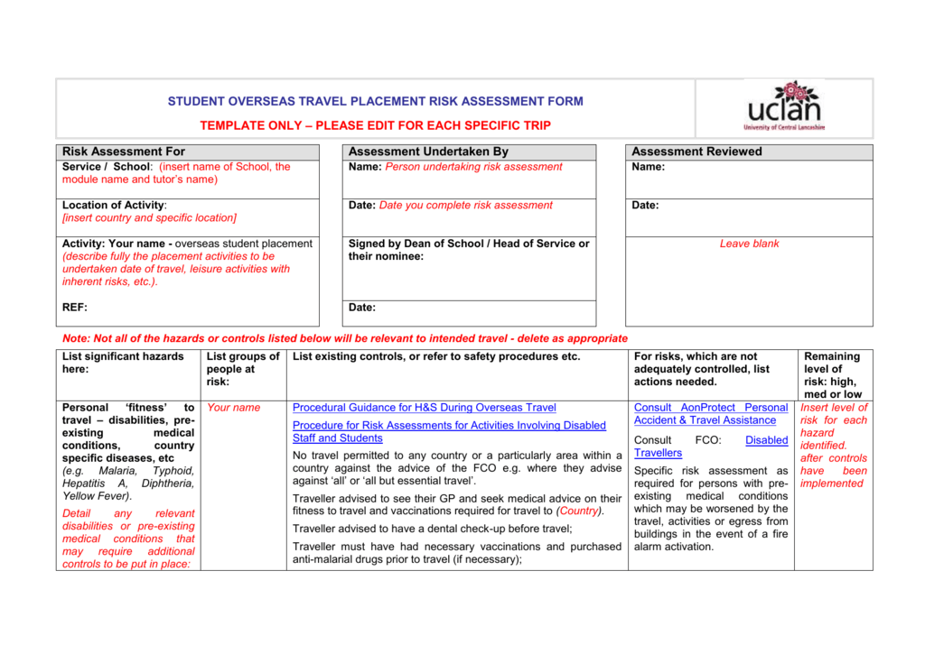 Free 7+ sample travel risk assessment forms in pdf | ms word.