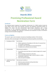 Awards 2016 Promising Professional Award Nomination Form