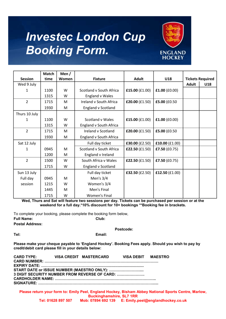 Investec London Cup Booking Form