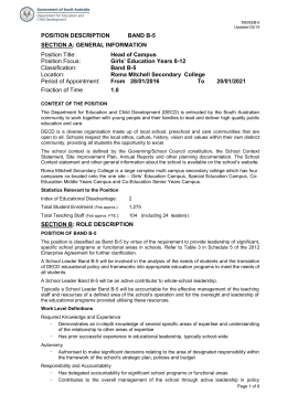 Position Description Band B5 - Department for Education and Child