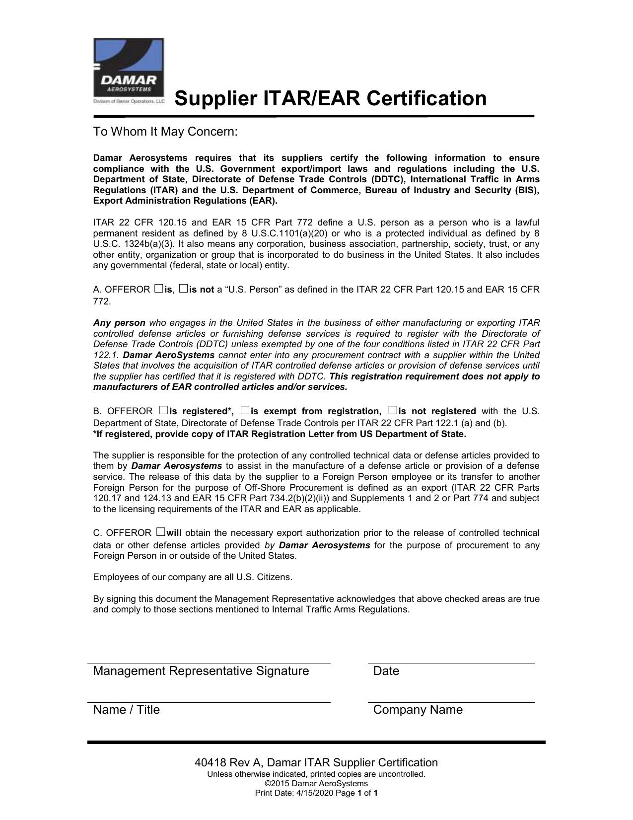 Itar Ear Certification Form
